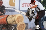 Stihl Timbersports Robert Ebner Deutscher Vize-Meister Disziplin: Hot Saw Wettkampfserie im Sportholzfällen Axt und Säge
