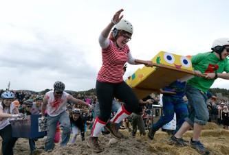 A team competes in the coffin races during Frozen Dead Guy Days on Saturday in Nederland. For more photos of the event go to www.dailycamera.com Jeremy Papasso / Staff Photographer March 12, 2016