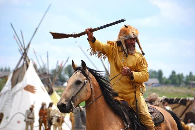 Green-River_Rendezvous-Pageant_Annual_Second_Sunday_July_1pm_Pinedale_Rodeo-Grounds_Pinedale_Wyoming_Jim_Bridger_Indian_Camp_Scene